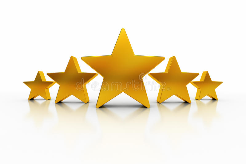 Five Stars. Five golden stars over white background representing excellence vector illustration