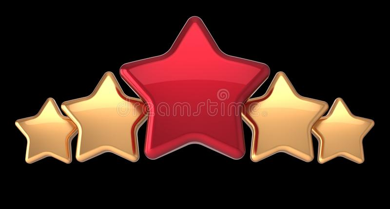 Five Star Service Gold Red Golden Award Success Decoration ...