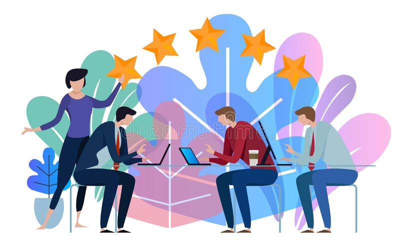 Five stars business team working talking together at big conference desk. Illustration on white background. Five stars business working talking together at big vector illustration
