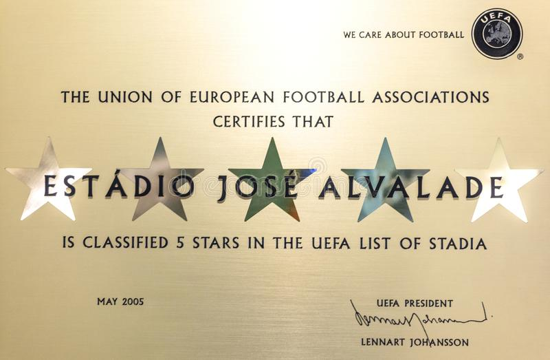 Five stars certificate of Jose Alvalade arena. Lisboa, Portugal. Stars certificate of jose alvalade arena. lisboa, portugal.   at fc jose alvalade arena royalty free stock photos
