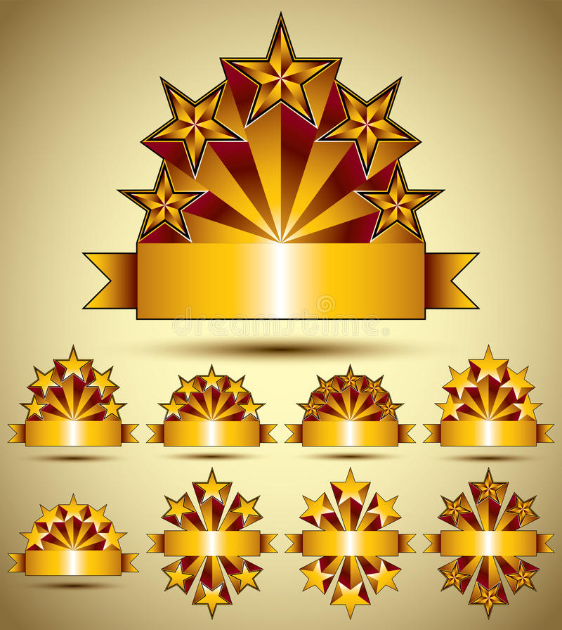 Five stars classic style blank golden banners set, vector collection. royalty free illustration