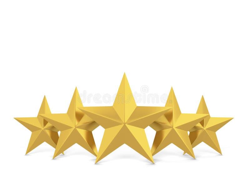 Five stars. 3d illustration isolated on white background vector illustration