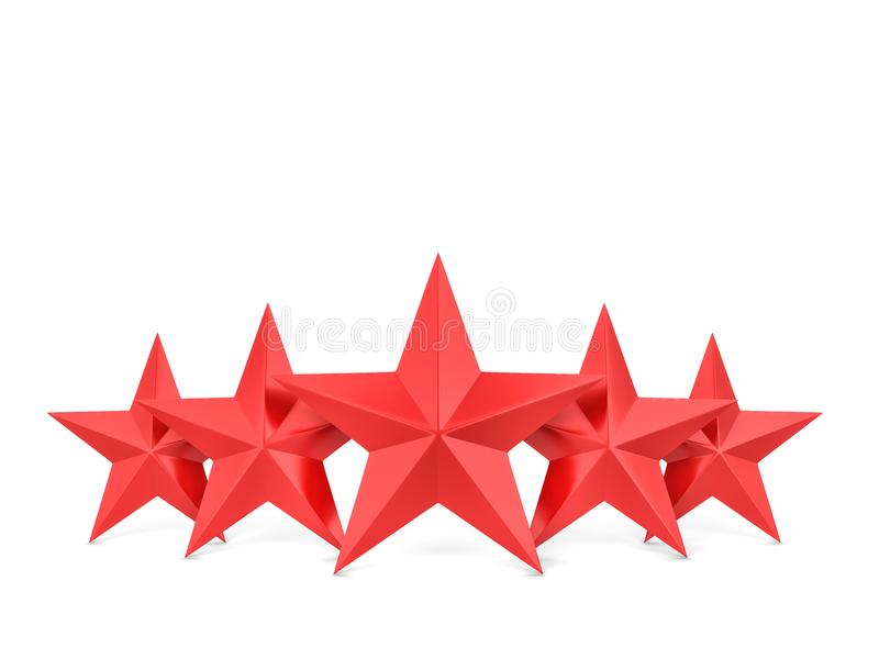 Five stars. 3d illustration isolated on white background royalty free illustration
