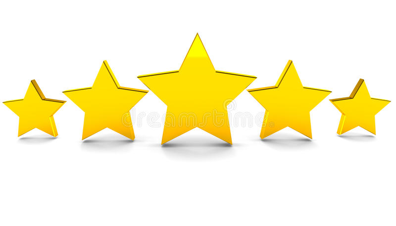 Five stars. Five golden stars rating concept, full rating with five stars in stylish arrangement