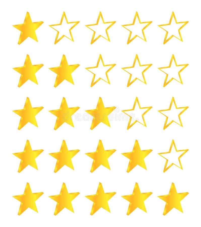 Five Stars Golden Stars. Set Premium Quality stock illustration