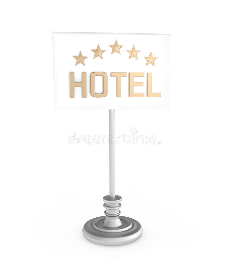 Five Stars Hotel sign on white. 3d illustration royalty free illustration