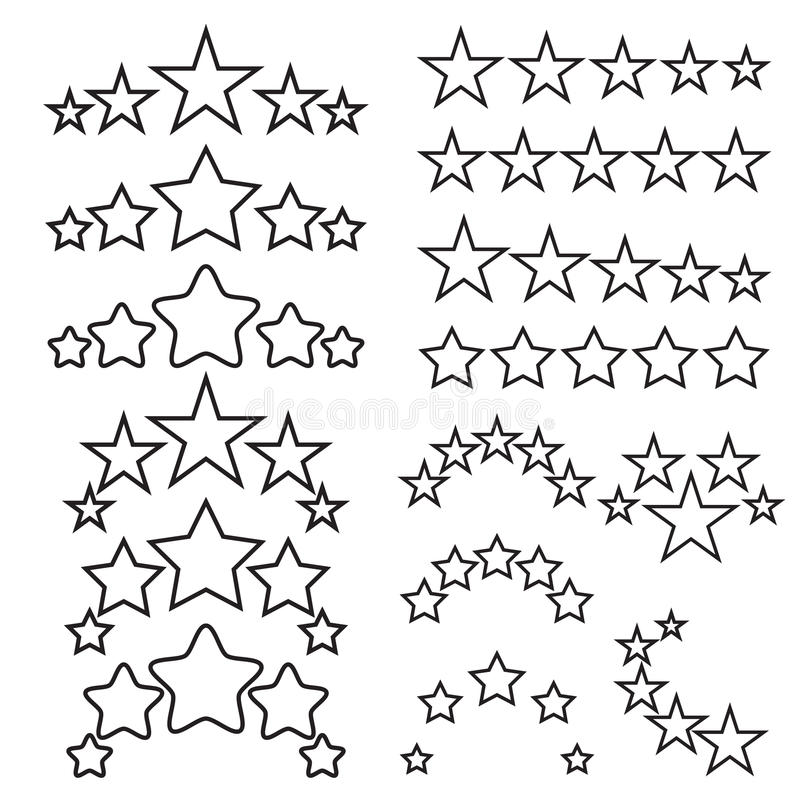 Five stars icons. Five-star quality icons. Five star symbols. Black linear icons isolated on a white background. Vector illustration royalty free illustration