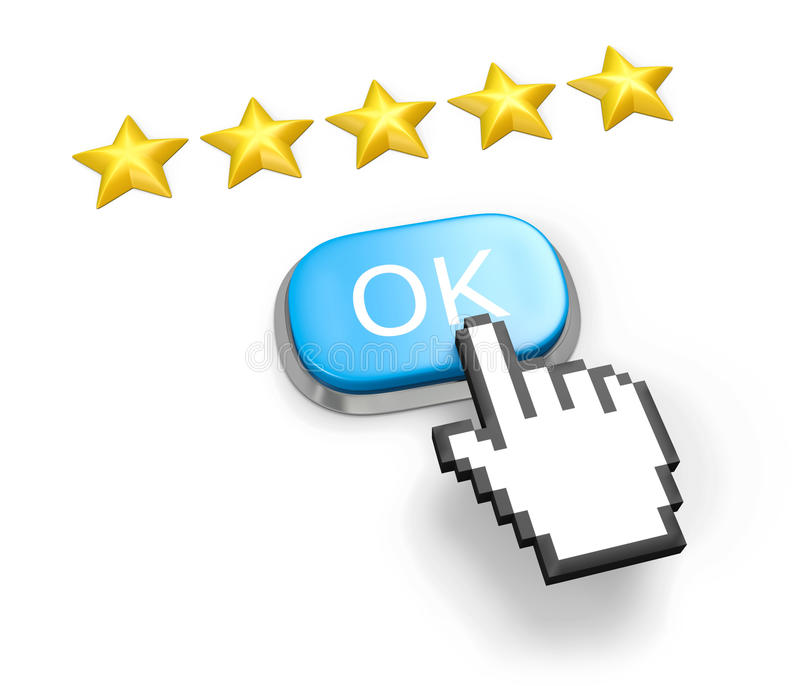 Five Stars Rating. Button OK And Hand Cursor. Stock Images