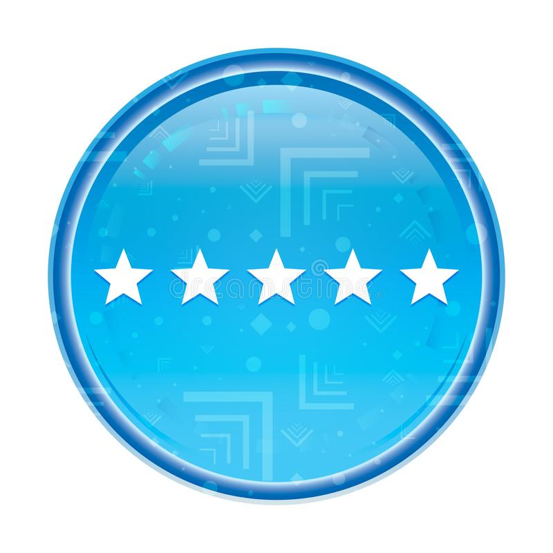 Five stars rating icon floral blue round button. Five stars rating icon isolated on floral blue round button vector illustration