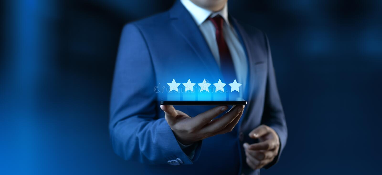 5 Five Stars Rating Quality Review Best Service Business Internet Marketing Concept royalty free stock photography