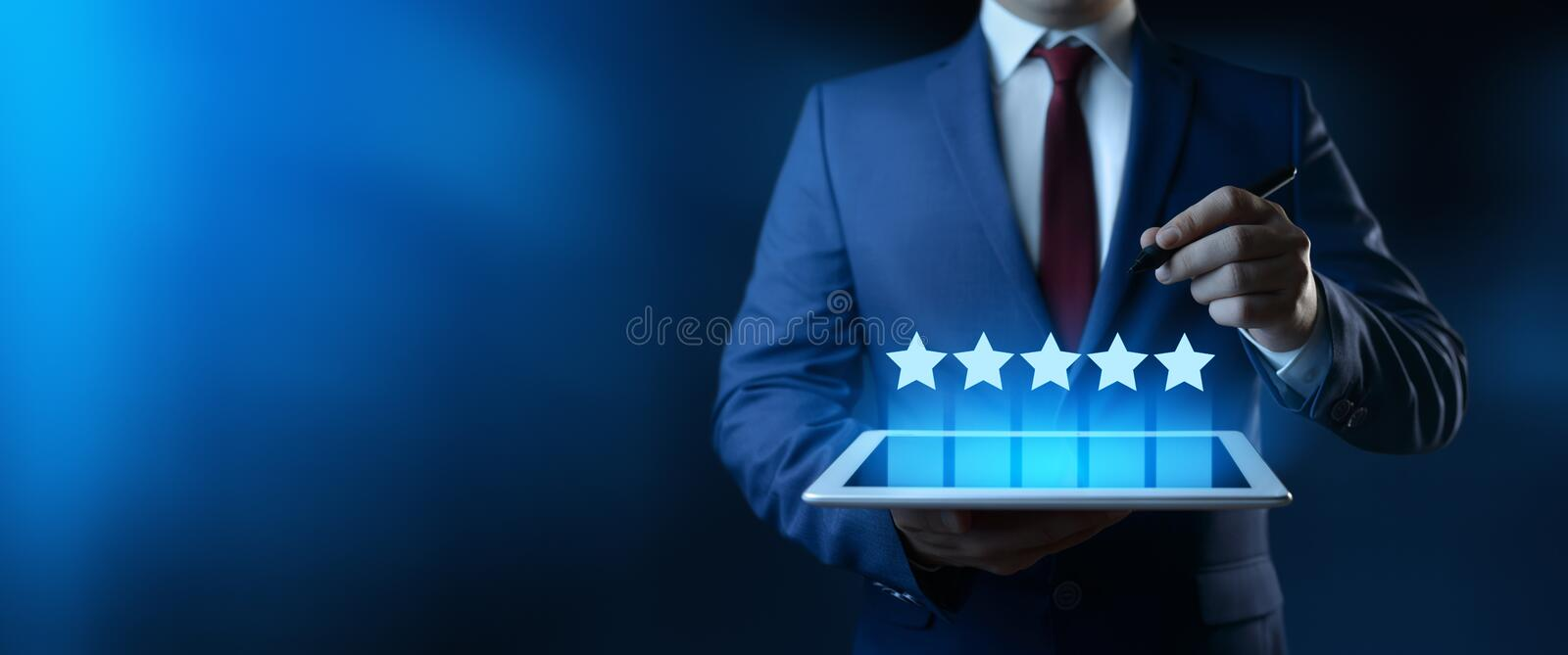 5 Five Stars Rating Quality Review Best Service Business Internet Marketing Concept royalty free stock images