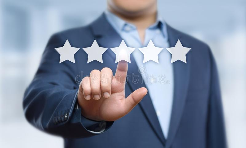 5 Five Stars Rating Quality Review Best Service Business Internet Marketing Concept stock photography