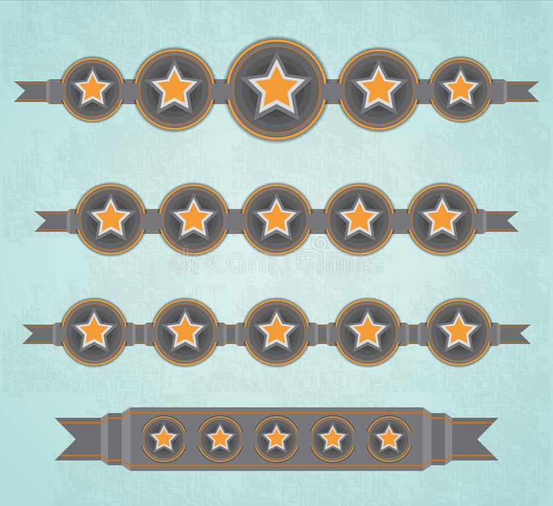 Download Five Stars ribbons stock vector. Image of color, linked - 36349493