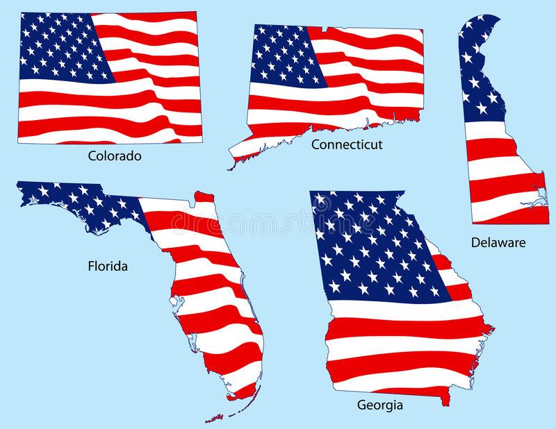 Five States with Flags stock illustration