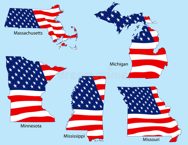 Five States with Flags royalty free illustration