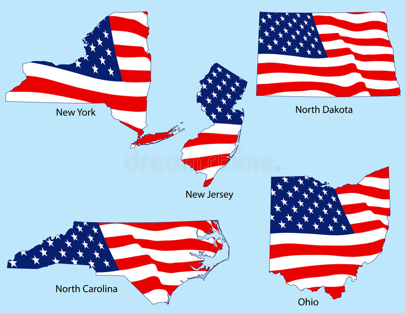 Five States with Flags vector illustration