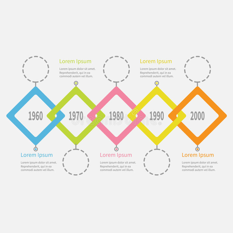 Free Five Step Timeline Infographic. Dash Line Round Circle. Colorful Big Rhombus Square Segment. Template. Flat Design. White Backgrou Royalty Free Stock Photo - 86641475