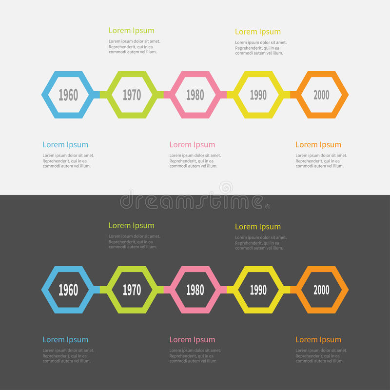 Free Five Step Timeline Infographic Set. Colorful Polygon Line Segment. Template. Flat Design. Black White Background. . Stock Photography - 87574622