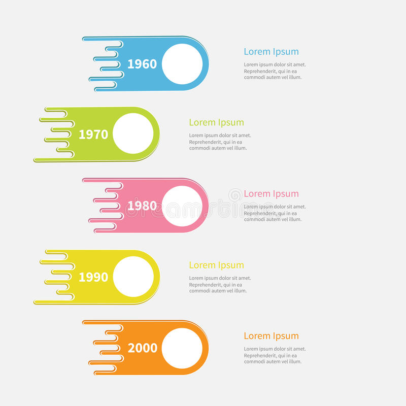 Five step Timeline Infographic. Vertical colorful comet shape with round circle. Template. Flat design. White background. vector illustration