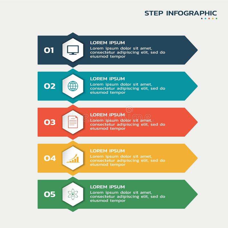 Five steps infographic. process flowchart with hexagons with icons and text. Five steps infographic. process flowchart with color hexagons with icons and text royalty free illustration