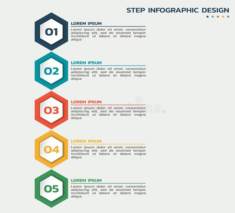 Five steps infographic. process flowchart with hexagons and text royalty free illustration