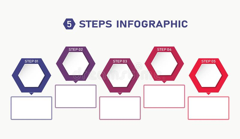 Five steps infographic template with hexagons and text boxes. process flowchart. Five steps infographic template with hexagons and text boxes. colourful process stock illustration