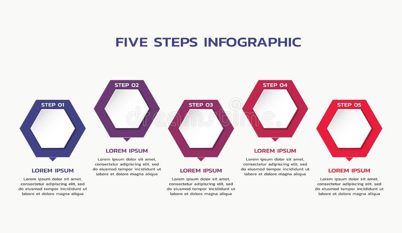 Five steps infographic template with hexagons and text. process flowchart stock illustration