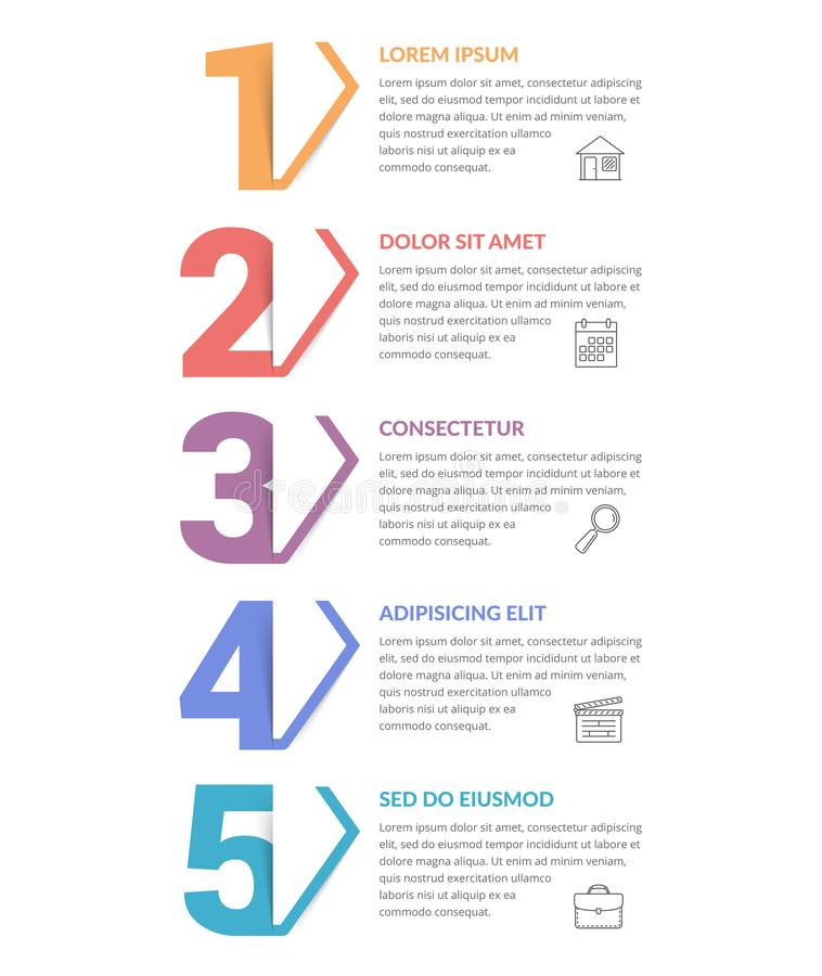 Five Steps - Infographic Template. Five numbers with arrows and place for your text, five steps - infographic template royalty free illustration