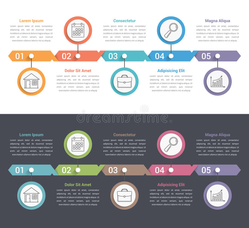 Five Steps Infographics. Five steps infographic template, can be used as process, options, workflow stock illustration