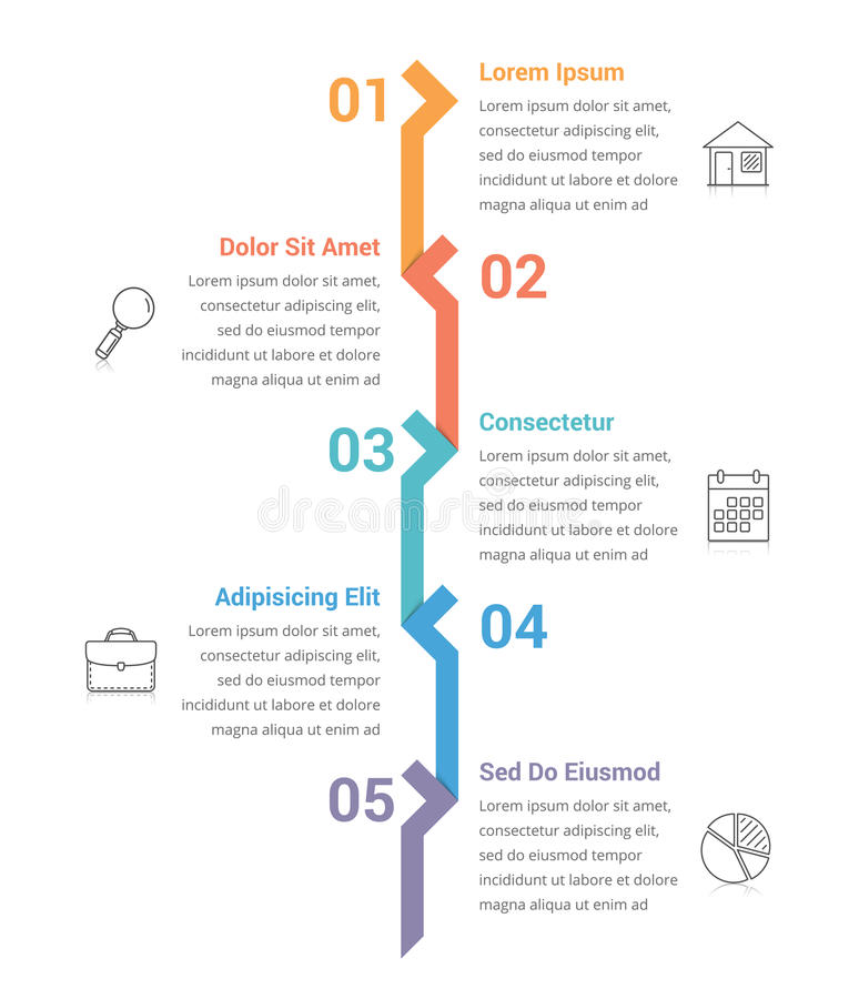 Five Steps Infographics. Infographic template with five steps or options, workflow, process diagram stock illustration