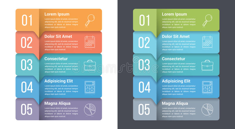 Five Steps Infographics. Infographic template with five steps or options, workflow, process diagram royalty free illustration