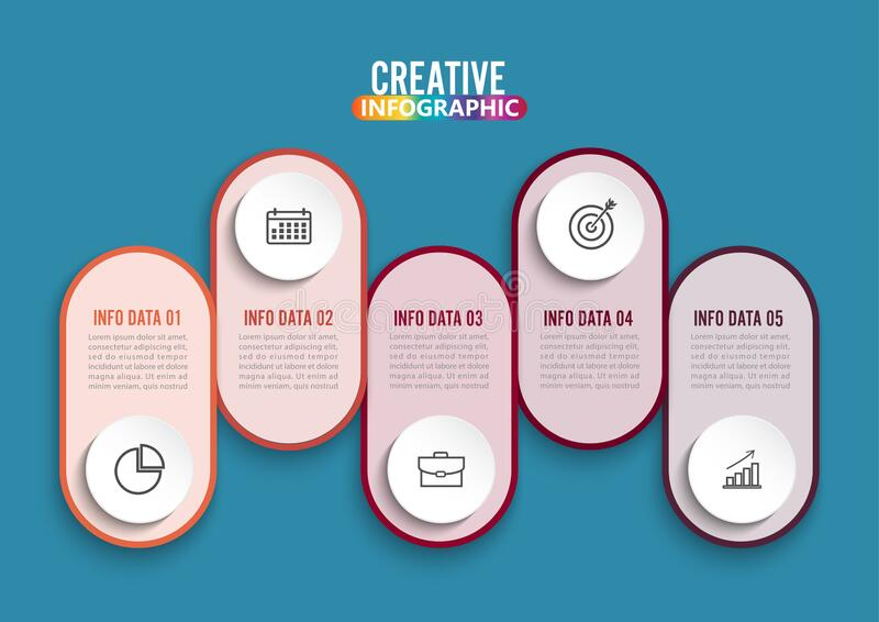 Five steps infographics. Template for brochure, business, web design stock image