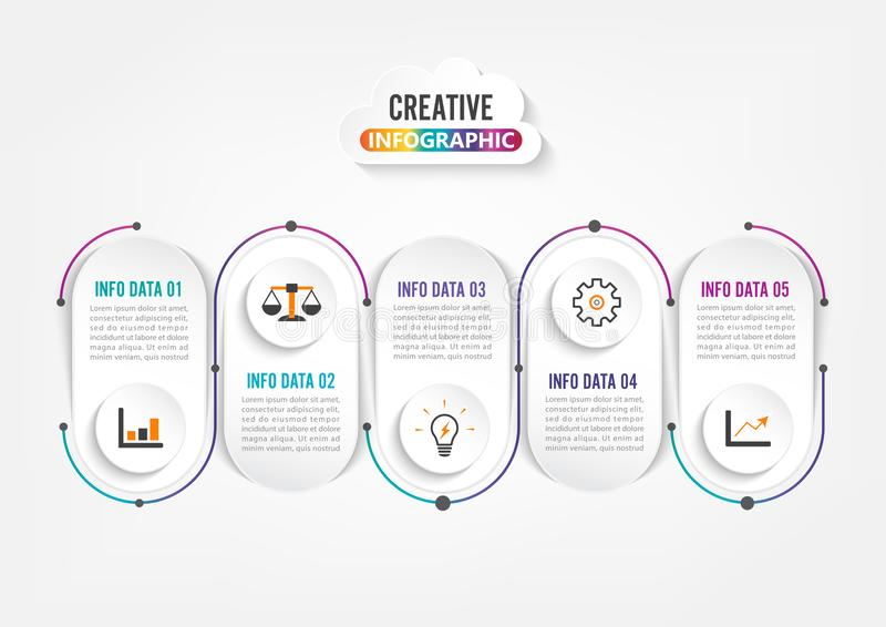 Five steps infographics. Template for brochure, business, web design royalty free stock photography
