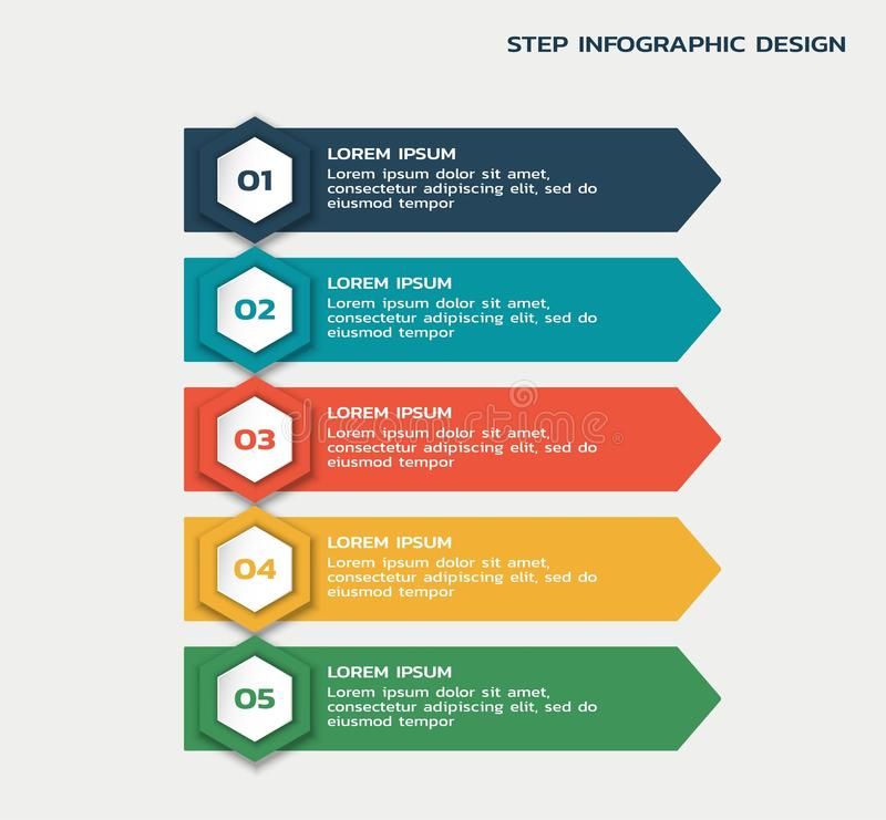 Five steps workflow infographic. process flowchart with hexagons and text stock illustration