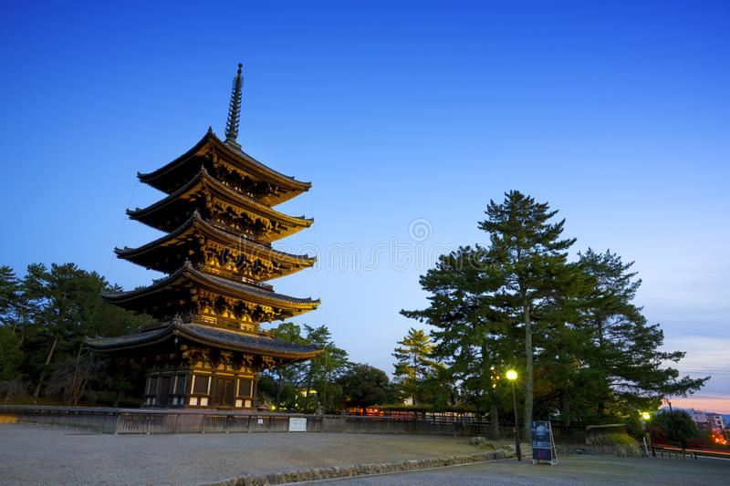 The Five Storied Pagoda in Nara,Japan. stock image
