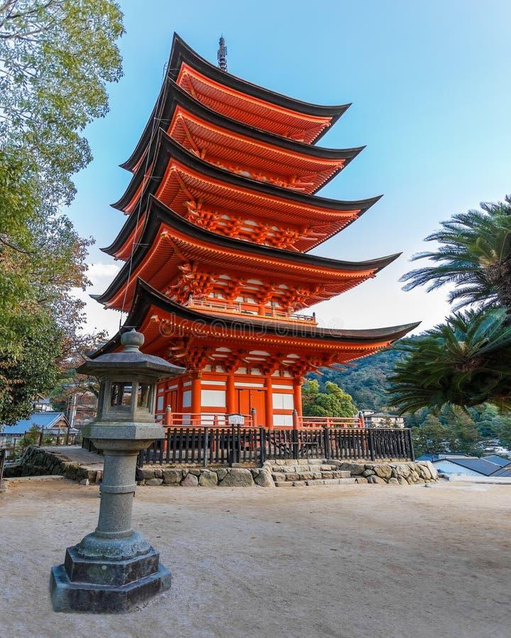 Five-storied Pagoda at Toyokuni Shrine in Miyajima. MIYAJIMA, JAPAN - NOVEMBER 15: Toyokuni Shrine in Miyajima, Japan on November 15, 2013. 5-storied pagoda royalty free stock image