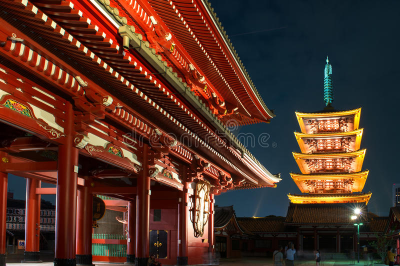 Five-Story Pagoda in Asakusa Sensoji Temple - Tokyo, Japan. The five-story pagoda or Gojunoto can be found in Japan's oldest temple, Asakusa Kannon in Tokyo stock photography