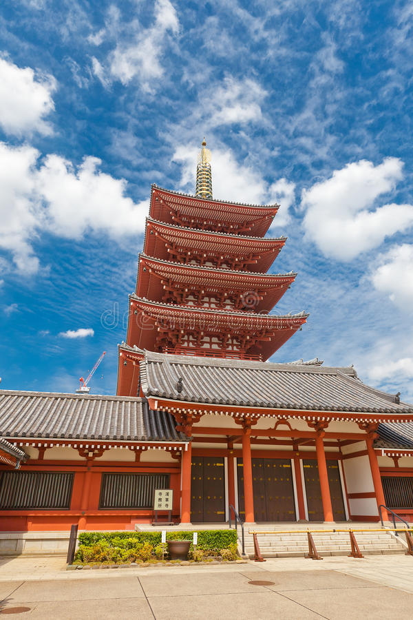 Five-story pagoda of Senso-ji Temple, Tokyo, Japan. Five-story pagoda of Senso-ji Temple in Tokyo, Japan. The oldest temple in Tokyo, was founded in 645 stock photography