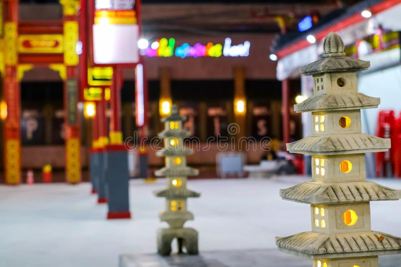 The five-story pagoda statue is decorative lanterns in the garden royalty free stock photography
