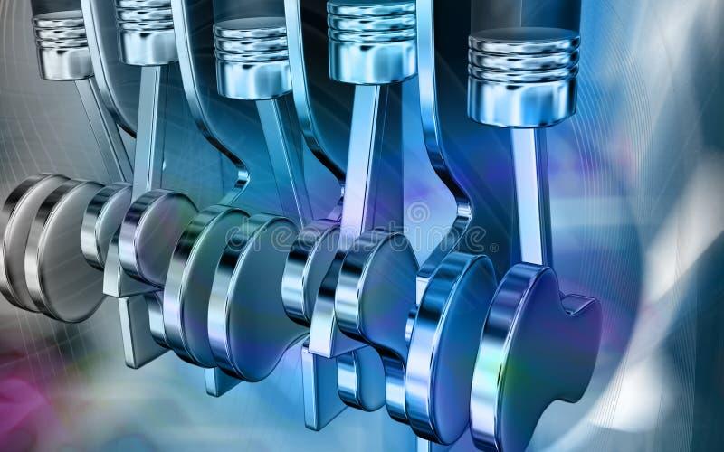 Five stroke engine. Digital illustration of pistons working in a five stroke engine vector illustration