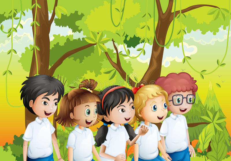 Five students at the forest. Illustration of the five students at the forest stock illustration