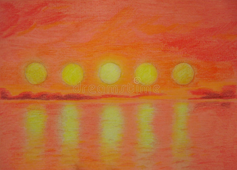 Five suns. Over the sea at sunset vector illustration