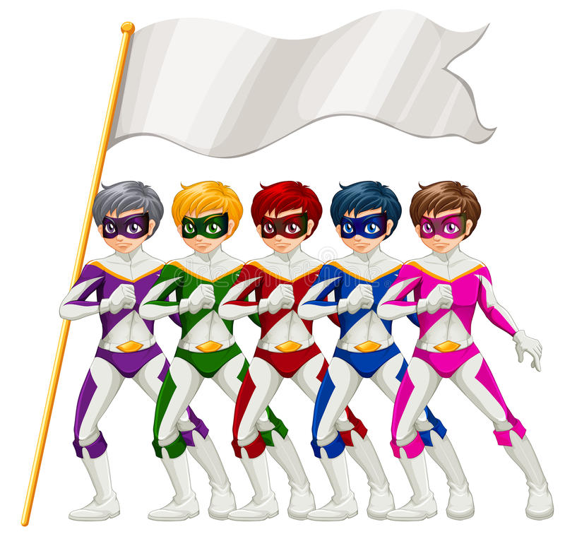 Five superheroes and an empty banner. Illustration of the five superheroes and an empty banner on a white background stock illustration
