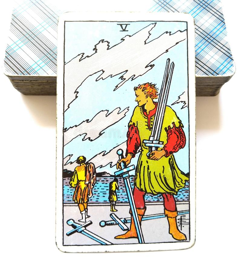 5 Five of Swords Tarot Card. Is about Change No-Win Lose All Defeat Surrender Walk Away Battle Weary Loss and Sacrifice royalty free stock photography