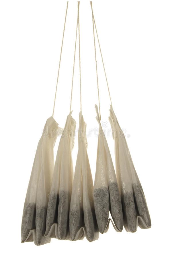 Five tea bags close-up isolated on white background stock image