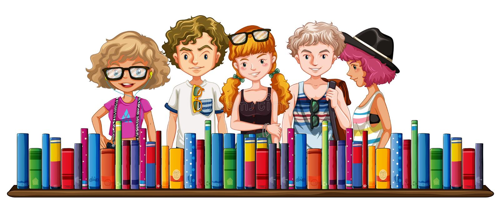 Five teenagers and many books stock illustration