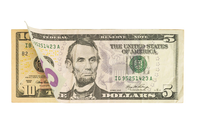 Five and Ten Dollar Bills stock images
