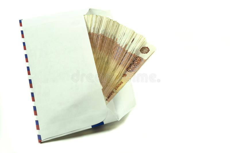 Five thousandth Russian rubles in an envelope. Corrupt cash bribe. Money tax. Payment stock photos
