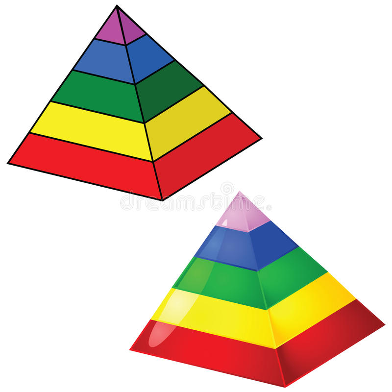 Five-tier pyramid. Illustration of a simple solid color and a glossy five-tier pyramid royalty free illustration