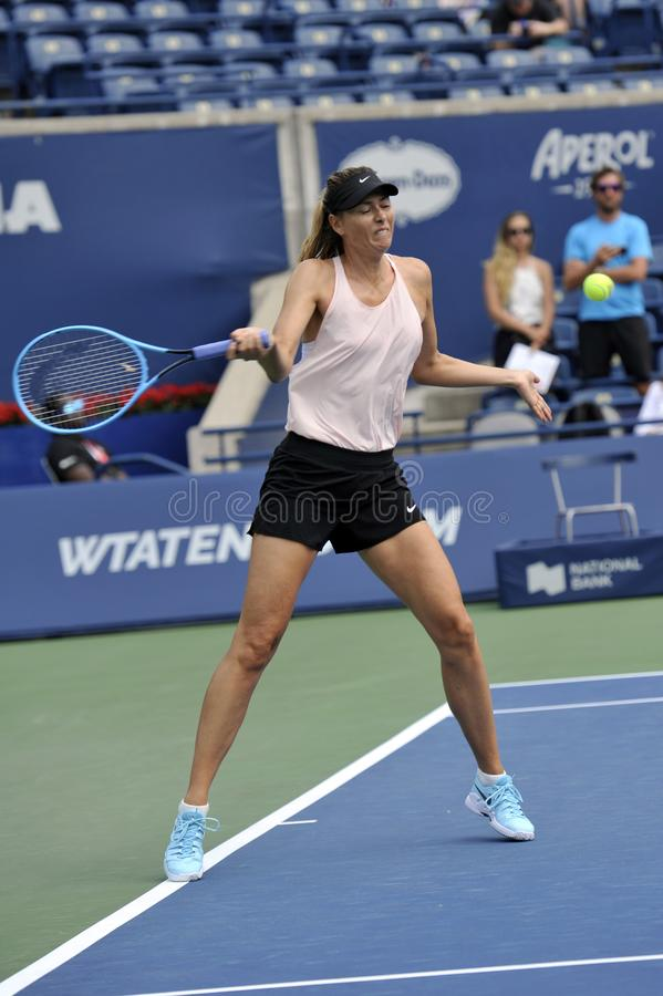 Five times Grand Slam Champion Maria Sharapova of Russian Federation practices for 2019 Rogers Cup in Toronto royalty free stock photo